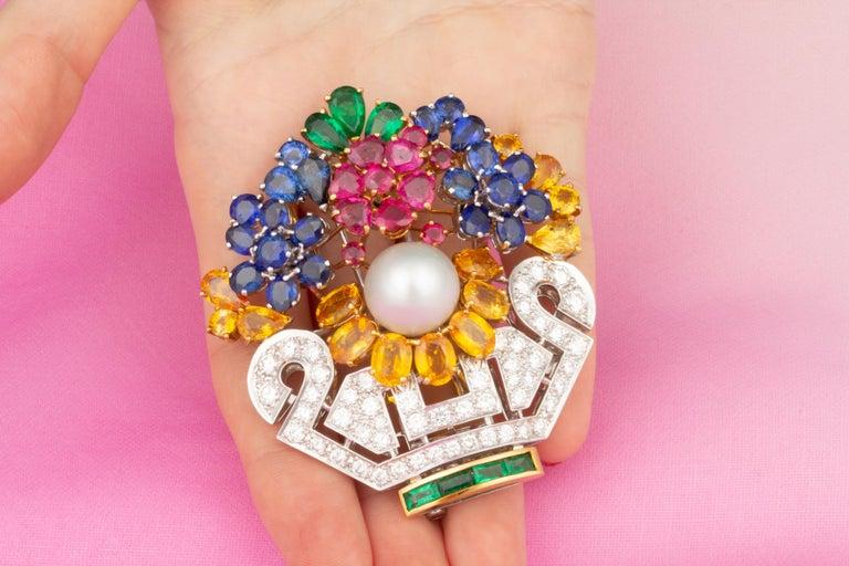Women's Ella Gafter Sapphire Ruby Diamond Flower Basket Brooch Pin For Sale