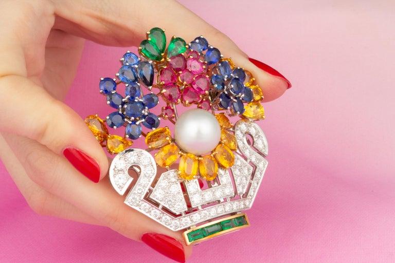 Ella Gafter Sapphire Ruby Diamond Flower Basket Brooch Pin For Sale 1
