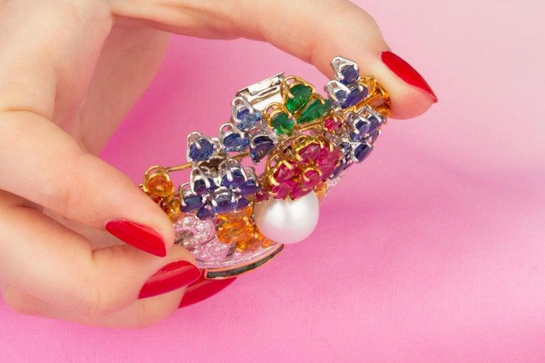 Ella Gafter Sapphire Ruby Diamond Flower Basket Brooch Pin For Sale 2