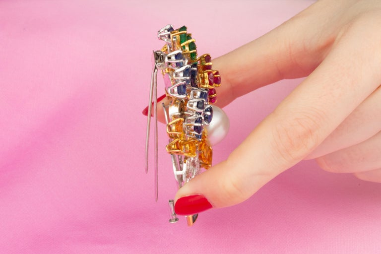 Ella Gafter Sapphire Ruby Diamond Flower Basket Brooch Pin For Sale 3