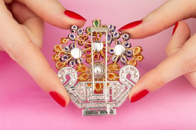 Ella Gafter Sapphire Ruby Diamond Flower Basket Brooch Pin For Sale 4