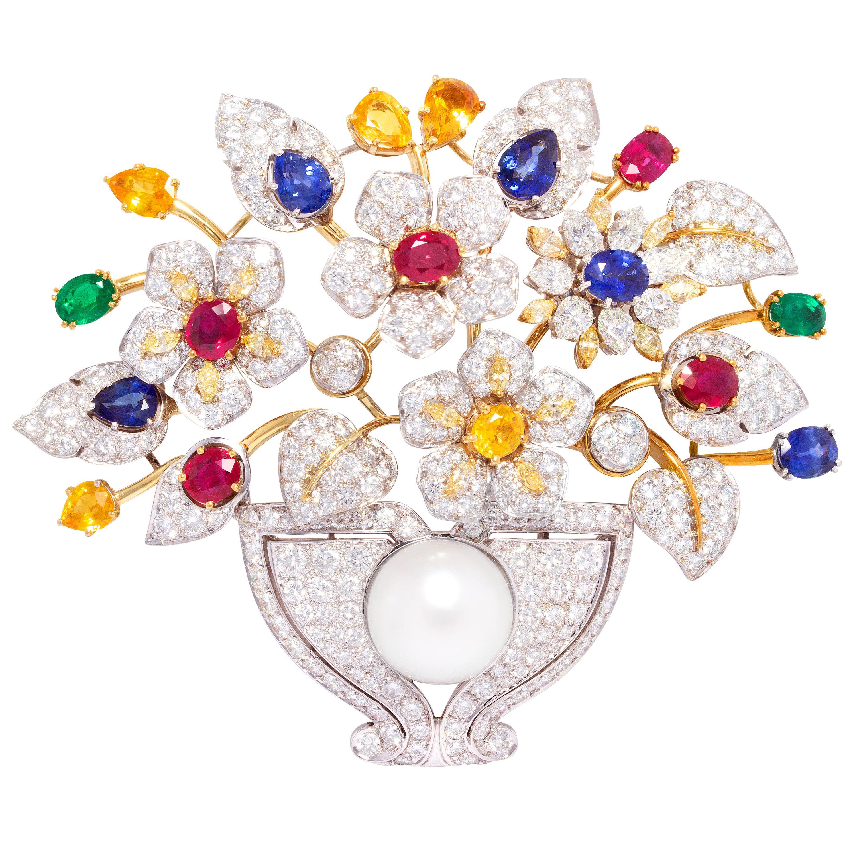 Ella Gafter Sapphire Ruby Diamond Jardiniere Brooch Pin
