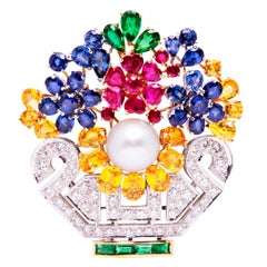 Ella Gafter Sapphire Ruby Diamond Flower Basket Brooch Pin