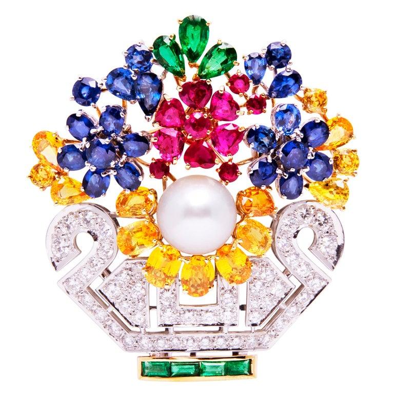 Ella Gafter Sapphire Ruby Diamond Flower Basket Brooch Pin For Sale