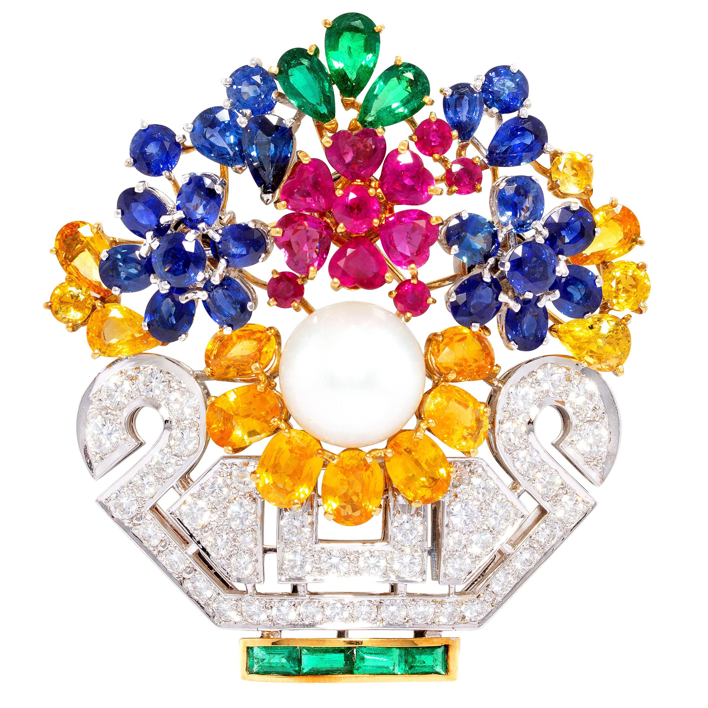 Ella Gafter Diamond Sapphire Ruby Jardiniere Flower Brooch