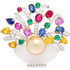 Ella Gafter Sapphire Ruby Emerald Pearl Diamond Flower Basket Brooch Pin