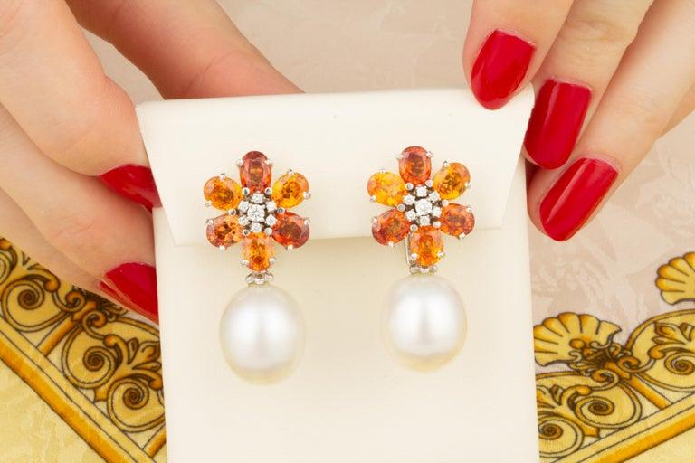Artist Ella Gafter Sapphire Pearl Diamond Earrings For Sale