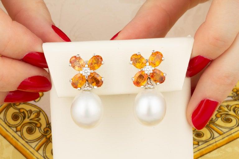 Artist Ella Gafter Pearl Orange Sapphire Diamond Flower Earrings For Sale