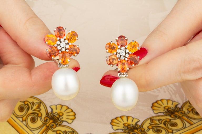 Oval Cut Ella Gafter Sapphire Pearl Diamond Earrings For Sale