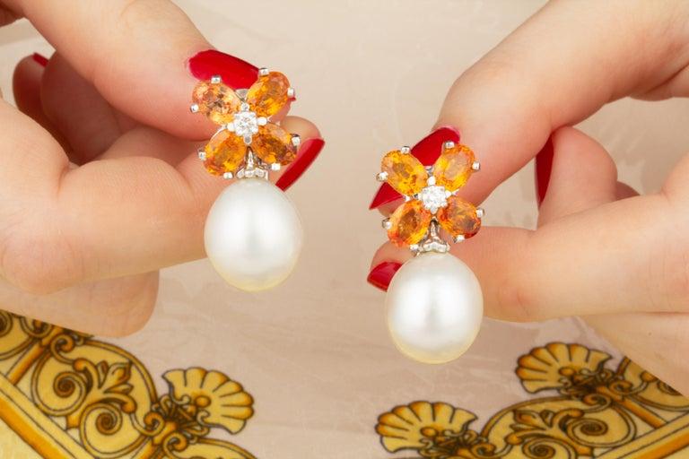Oval Cut Ella Gafter Pearl Orange Sapphire Diamond Flower Earrings For Sale