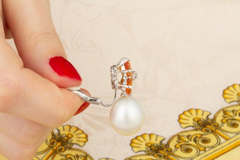 Women's Ella Gafter Pearl Orange Sapphire Diamond Flower Earrings For Sale