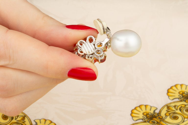 Ella Gafter Sapphire Pearl Diamond Earrings For Sale 1