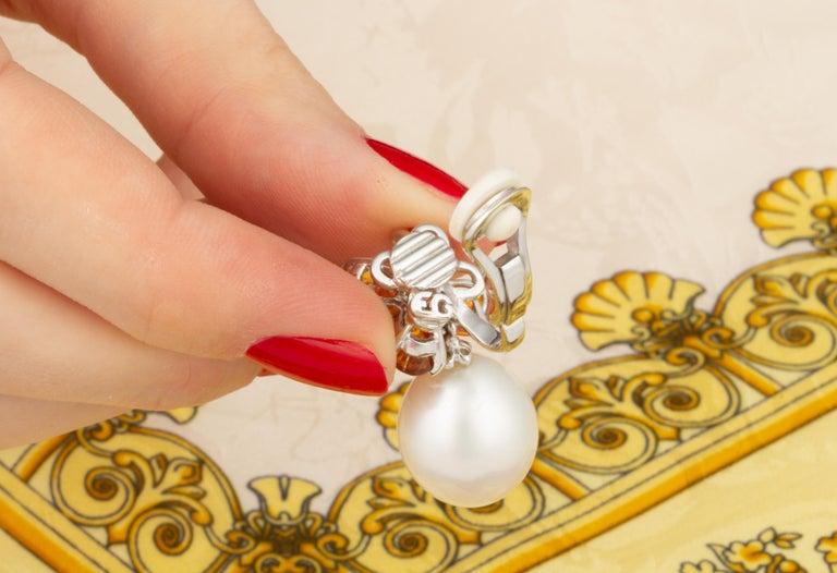 Ella Gafter Pearl Orange Sapphire Diamond Flower Earrings For Sale 1
