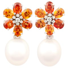 Ella Gafter Sapphire South Sea Pearl and Diamond Flower Earrings
