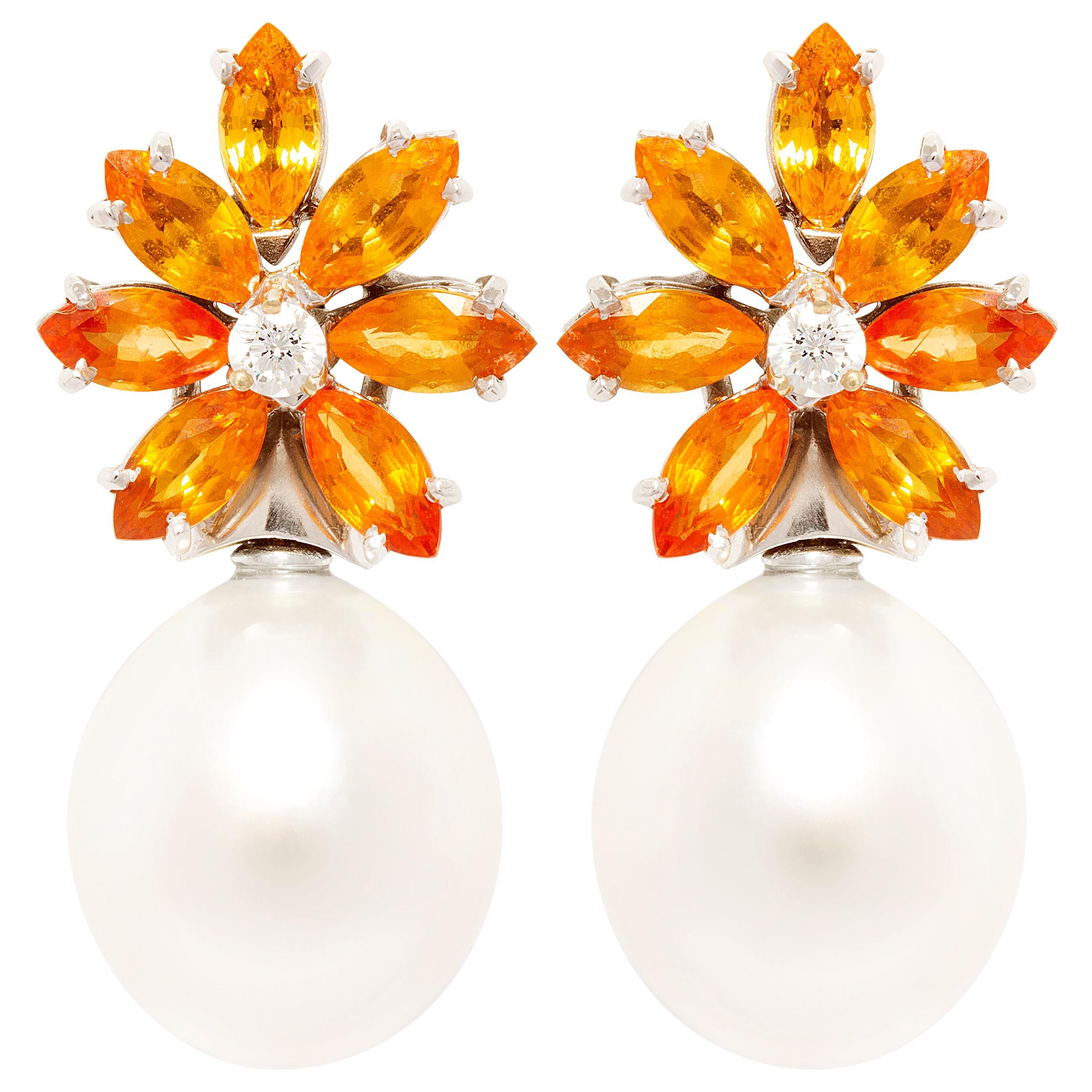 Ella Gafter Sapphire South Sea Pearl Diamond Earrings