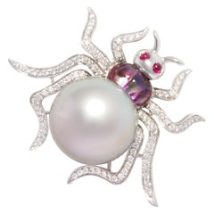 Ella Gafter 18mm Tahitian Pearl Diamond Spider Brooch Pin