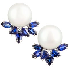 Ella Gafter South Sea Pearl and Blue Sapphire Diamond Earrings