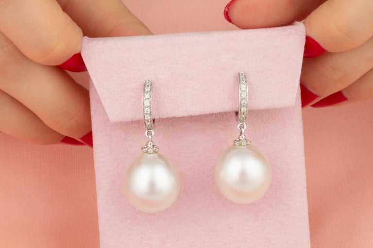 Artist Ella Gafter South Sea Pearl and Diamond  Drop Earrings For Sale
