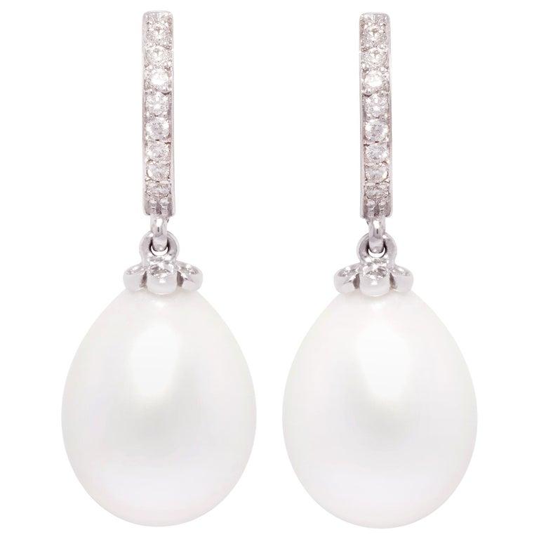 Ella Gafter Drop Shape South Sea Pearl Diamond Earrings For Sale