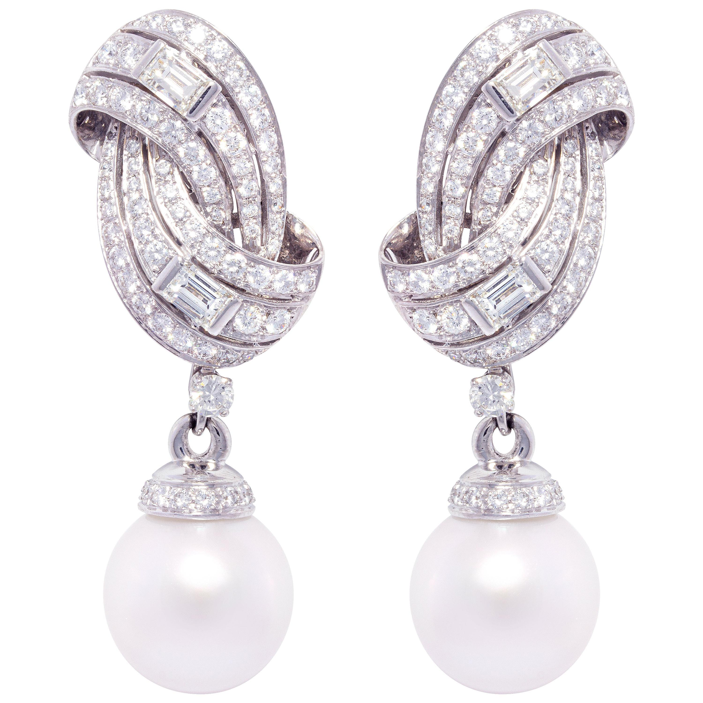 Ella Gafter 16mm South Sea Pearl Diamond Drop Earrings