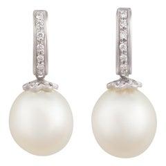 Ella Gafter South Sea Pearl and Diamond Drop Earrings