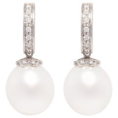 Ella Gafter South Sea Pearl and Diamond Drop Earrings