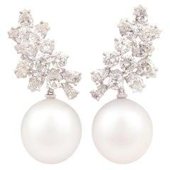 Ella Gafter 16mm Pearl Diamond Cluster Earrings
