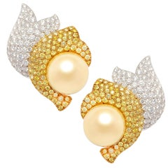 Ella Gafter South Sea Pearl and Diamond Earrings