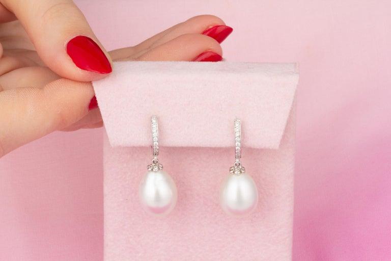 Artist Ella Gafter Drop Shape South Sea Pearl Diamond Earrings For Sale