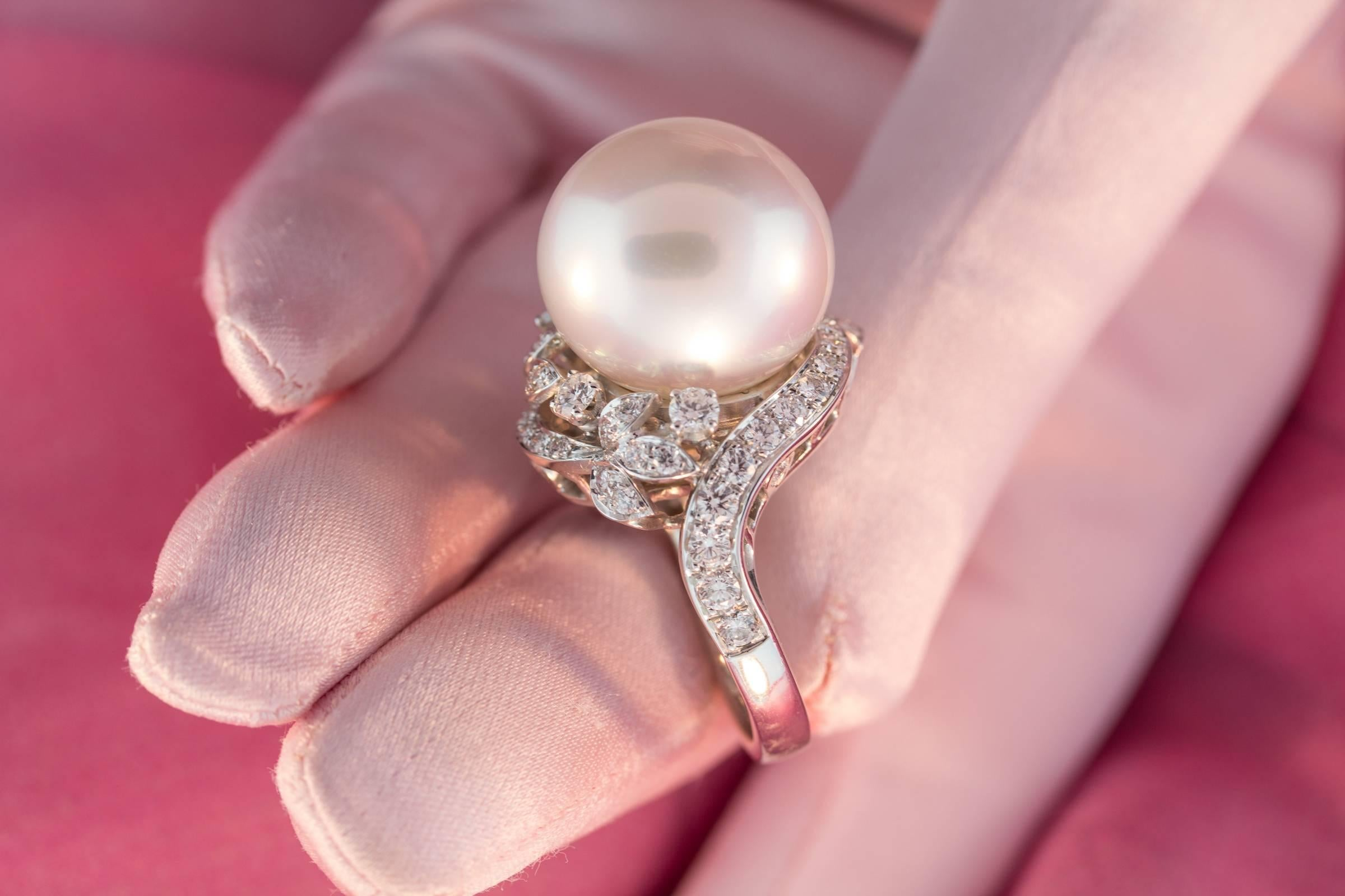 Ella Gafter South Sea Pearl and Diamond Ring For Sale at 1stdibs