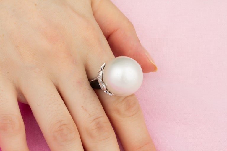 Artist Ella Gafter 20mm Pearl Diamond Ring  For Sale
