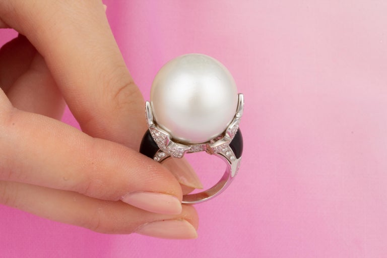 Ella Gafter 20mm Pearl Diamond Ring  In New Condition For Sale In New York, NY