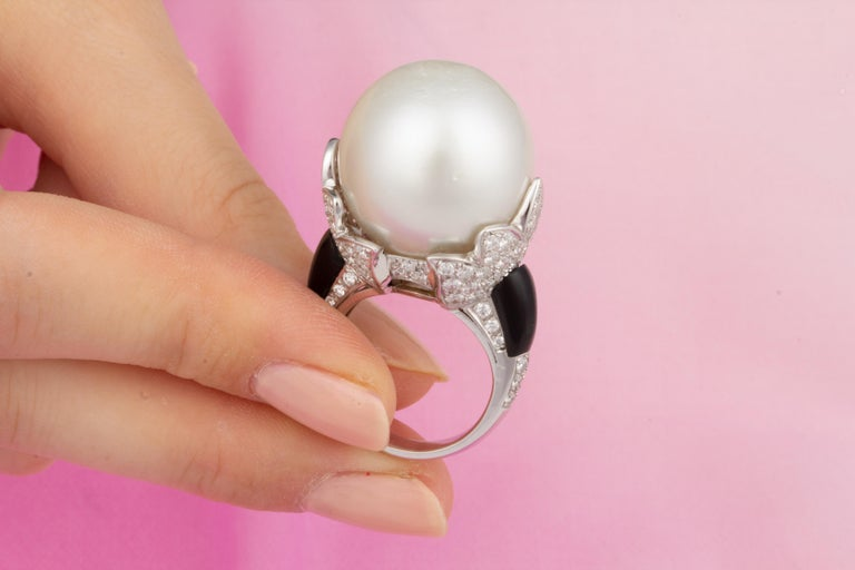 Ella Gafter 20mm Pearl Diamond Ring  For Sale 1