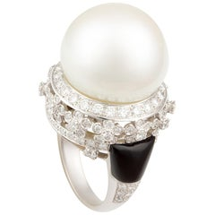 Ella Gafter South Sea Pearl and Diamond Ring with Onyx