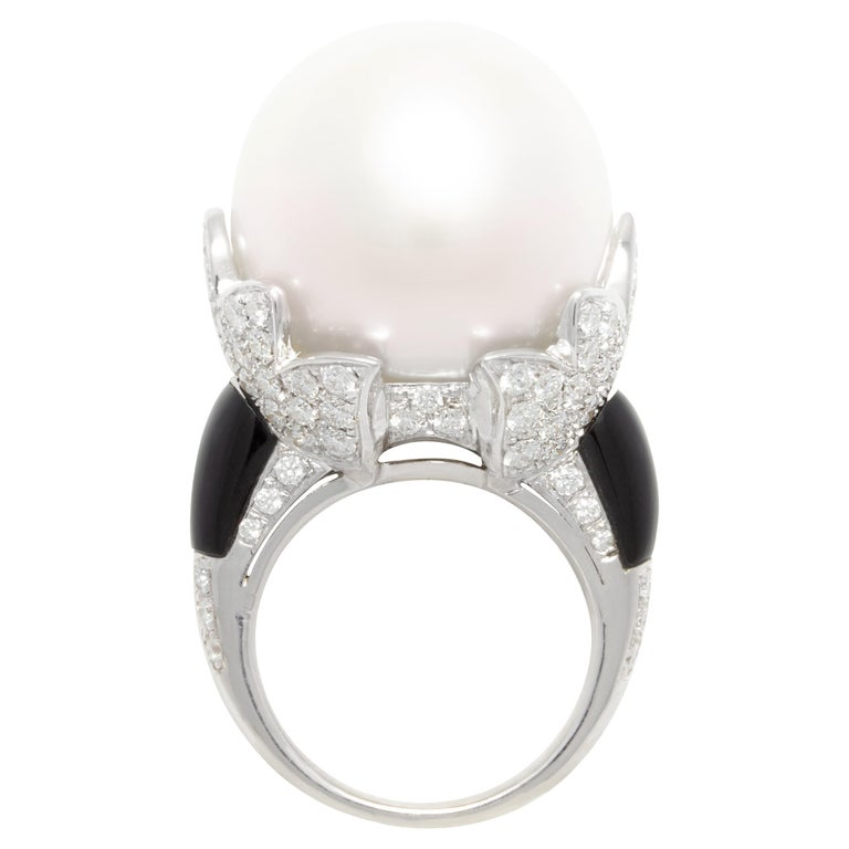 Ella Gafter 20mm Pearl Diamond Ring  For Sale