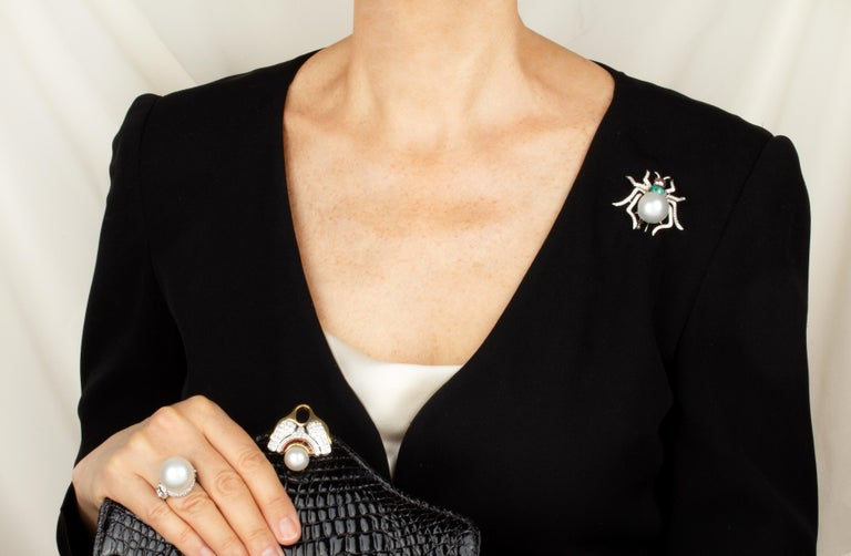 Artist Ella Gafter South Sea Pearl and Diamond Spider Brooch Pin For Sale