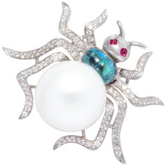 Ella Gafter Spider Pearl Diamond Brooch Pin