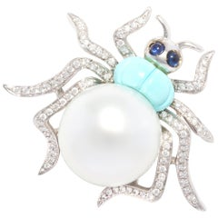 Ella Gafter 18mm Pearl Diamond Spider Brooch Pin