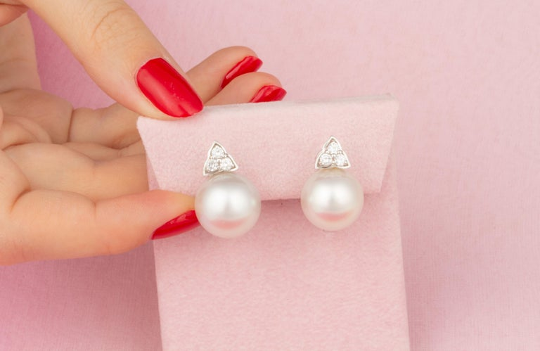 Contemporary Ella Gafter South Sea Pearl and Diamond Stud Earrings For Sale