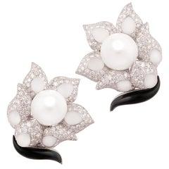 Ella Gafter South Sea Pearl Crystal Diamond Earrings