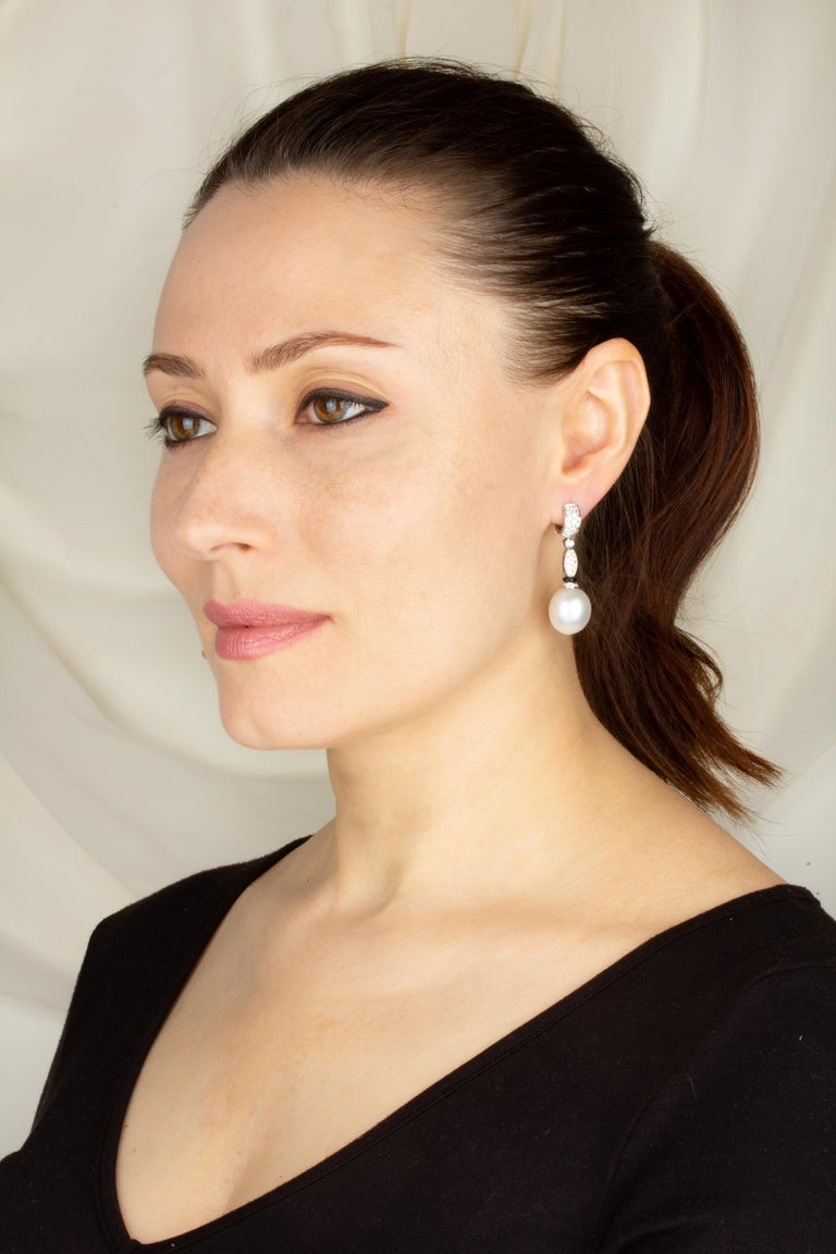 Artist Ella Gafter South Sea Pearl Diamond and Onyx Drop Earrings For Sale