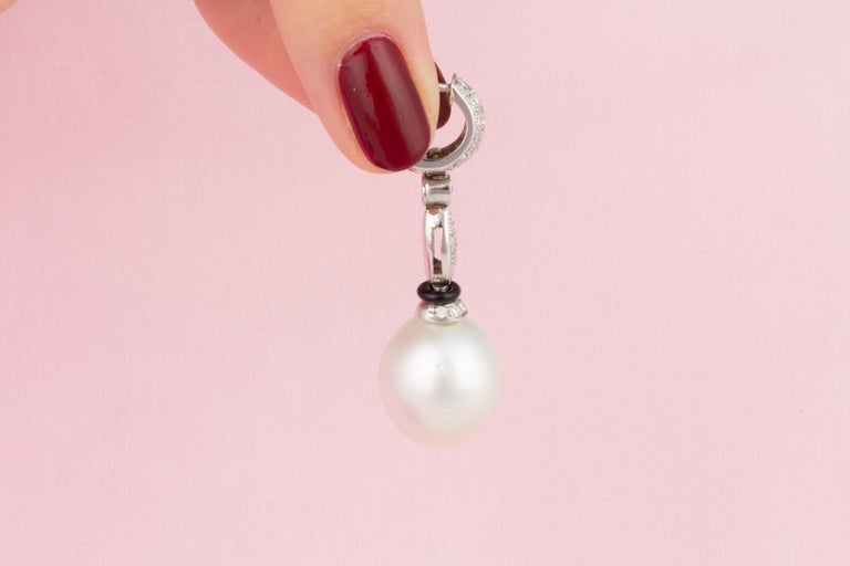 Ella Gafter South Sea Pearl Diamond and Onyx Drop Earrings For Sale 2