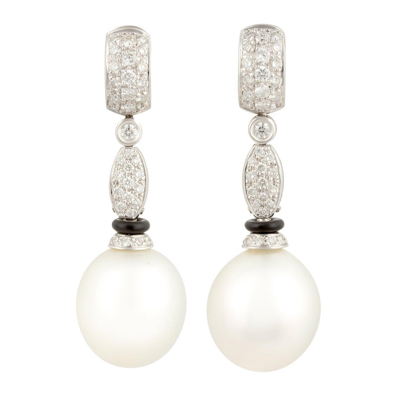 Ella Gafter South Sea Pearl Diamond and Onyx Drop Earrings For Sale