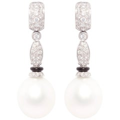 Ella Gafter South Sea Pearl Diamond and Onyx Drop Earrings