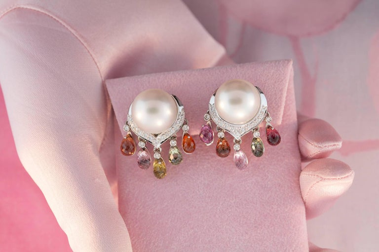 Ella Gafter South Sea Pearl Diamond Earrings with Sapphire Briolettes Clip-On In New Condition For Sale In New York, NY