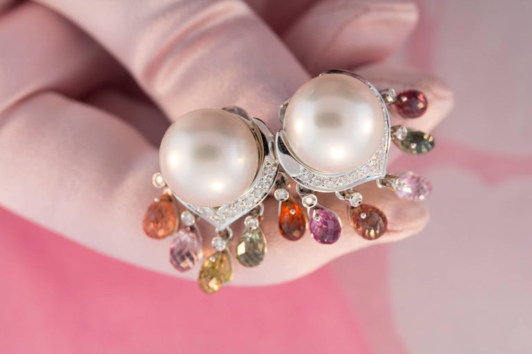 Women's Ella Gafter South Sea Pearl Diamond Earrings with Sapphire Briolettes Clip-On For Sale