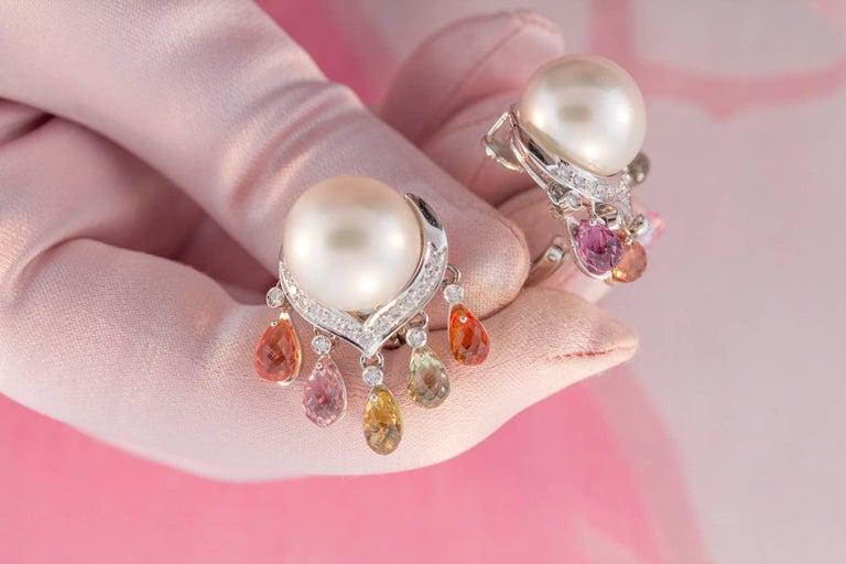 Ella Gafter South Sea Pearl Diamond Sapphire Briolette Clip-on Dangle Earrings  For Sale 1