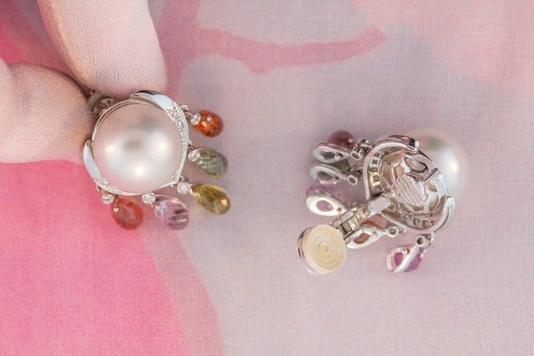Ella Gafter South Sea Pearl Diamond Sapphire Briolette Clip-on Dangle Earrings  For Sale 3