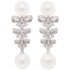 Ella Gafter South Sea Pearl Diamond Bow Earrings
