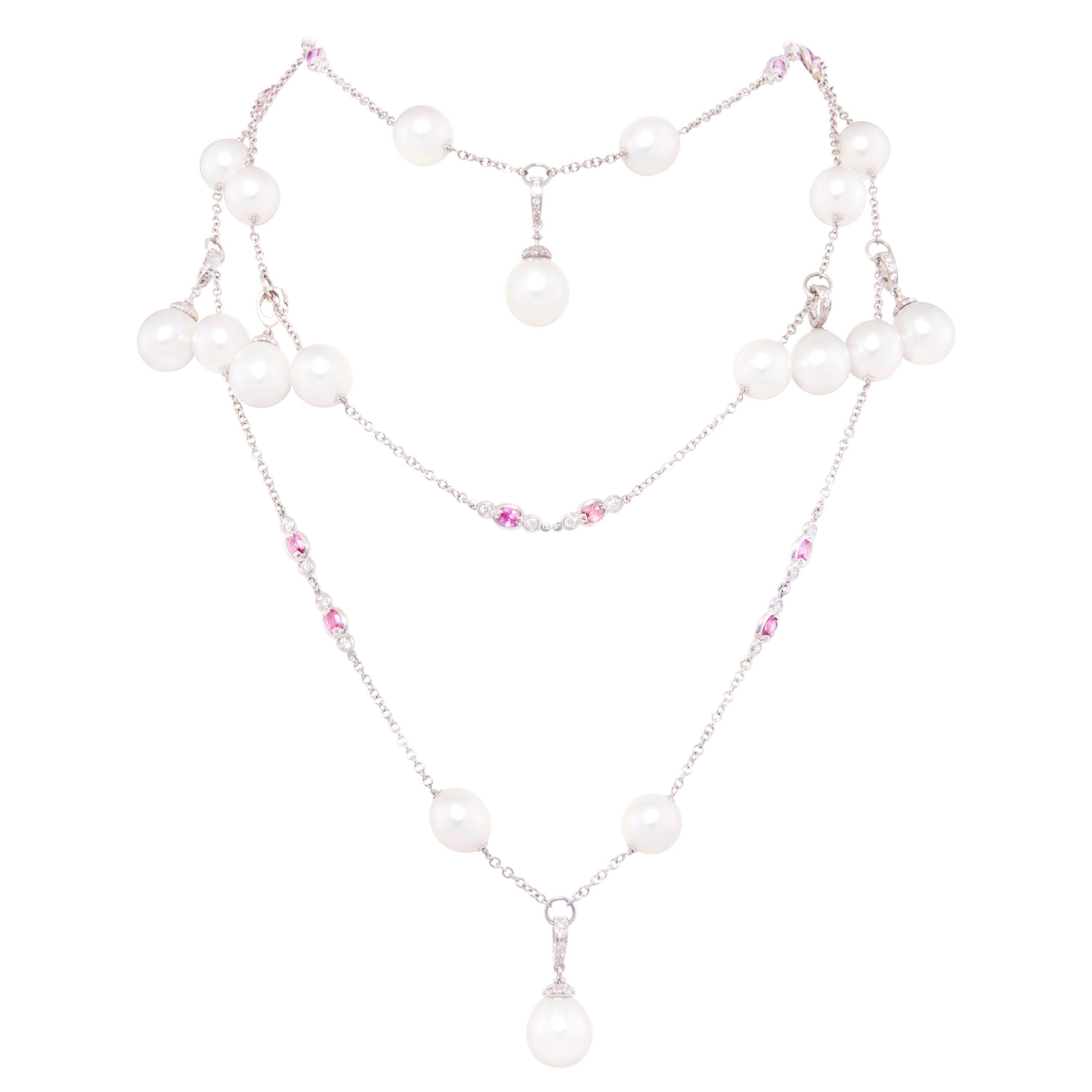 A one-of-a-kind necklace designed by Ella Gafter featuring 27 South Sea pearls accented by diamonds and pink sapphires.